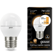 105102107-S Лампа Gauss LED Шар E27 7W 520lm 3000K step dimmable