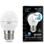 105102207-S Лампа Gauss LED Шар E27 7W 550lm 4100K step dimmable